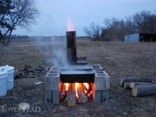 Boiling maple sap over home-built evaporator