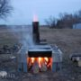 Boiling maple sap over home-built evaporator