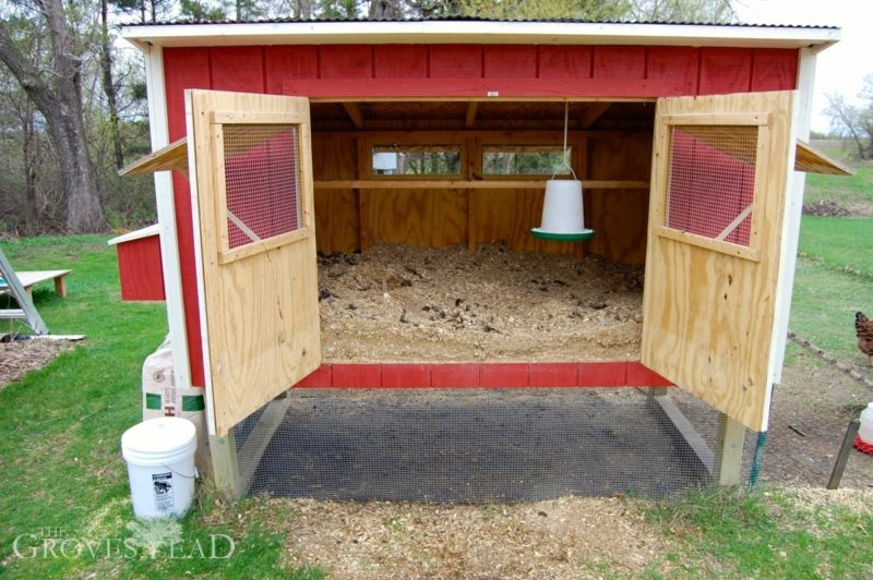 Our chicken coop, ready for cleaning