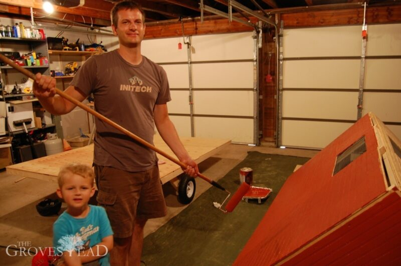 Painting the mobile chicken coop