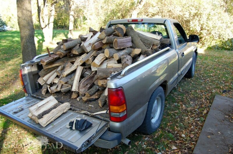 Truckload of split wood
