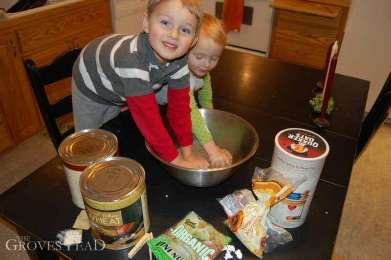 Kids help make Homemade Chicken Food