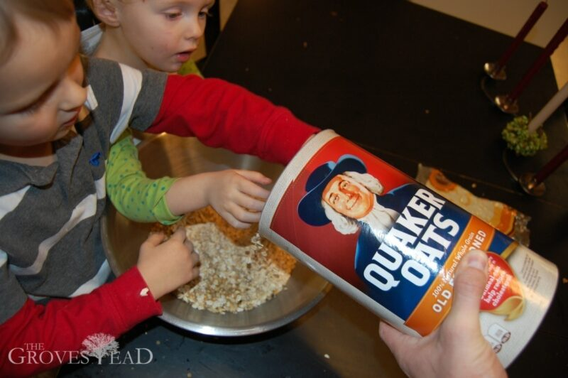 Adding oats to the mixture