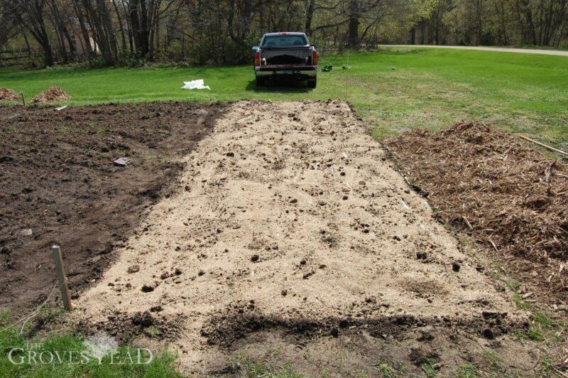 Added organic fertilizer to no-till garden plot