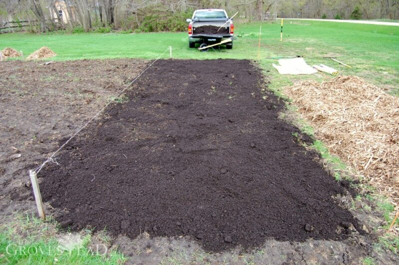 Layer of compost added to soil
