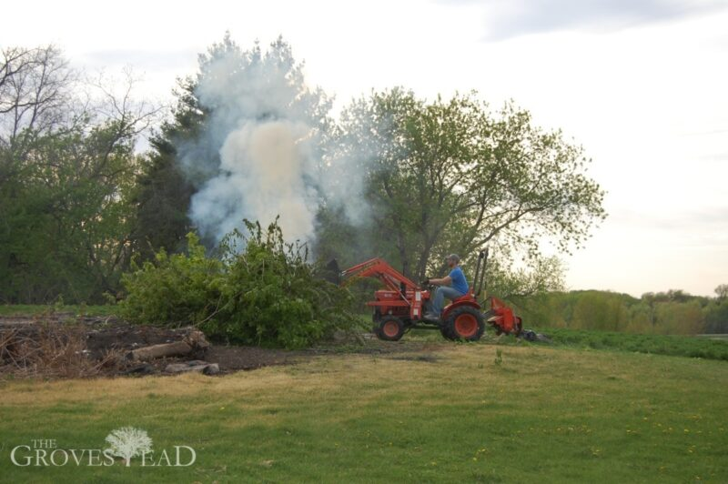 Using the tractor to push trees into the burn pile