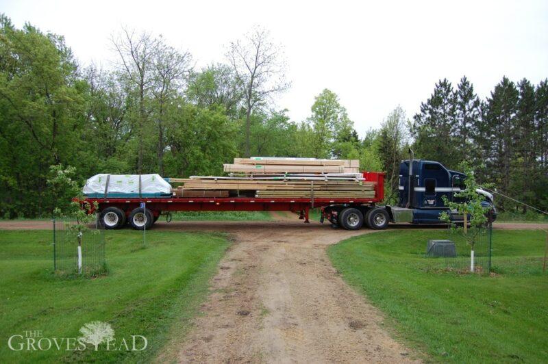 Barn materials arrive
