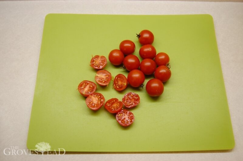 Cutting the tomatoes to save seed