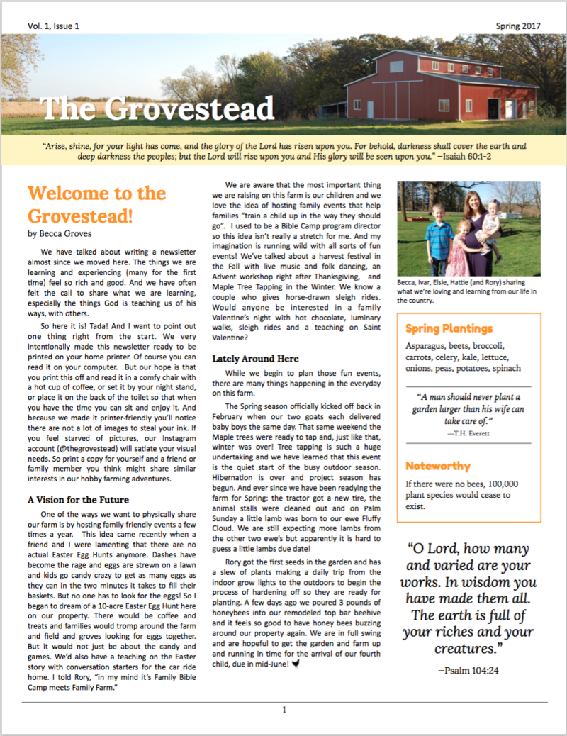 The Grovestead Newsletter Cover Vol 1 Issue 1