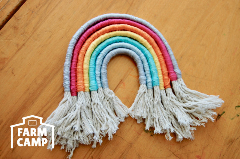 Rope Rainbow craft at Farm Camp