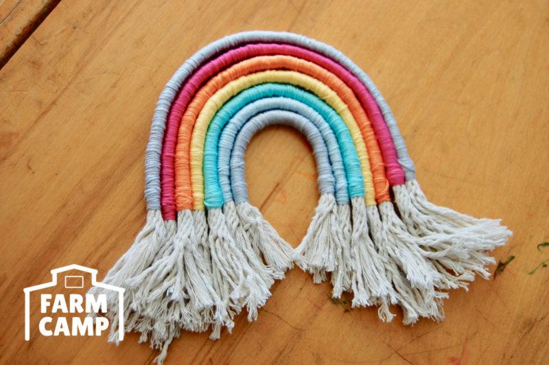 Rope Rainbow craft at Farm Camp
